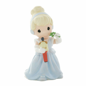 PRECIOUS MOMENTS DISNEY CHRISTMAS CINDERELLA WITH TOY PRINCE:  THERE'S MAGIC UNDER THE MISTLETOE