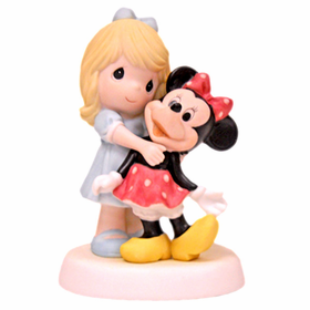 Precious Moments Disney:  Girl with Minnie Mouse Figurine