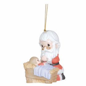 Precious Moments Kneeling Santa and Manger Ornament