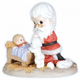 Precious Moments Santa Kneeling at Manger Figurine