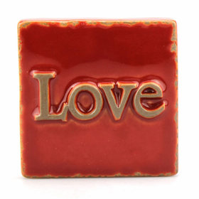 Stonebriar Collection Worn Red Love Ceramic Box