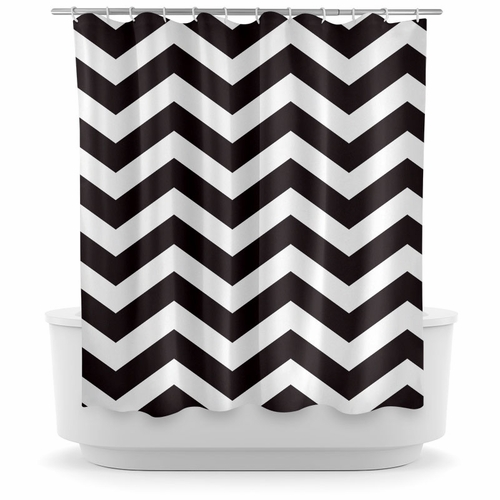 Opima Chevron Black Shower Curtain
