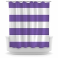 Opima Stripe Purple / White Shower Curtain