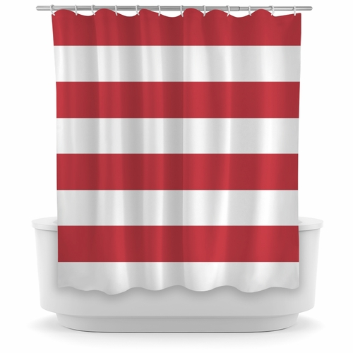 Opima Stripe Red / White Shower Curtain