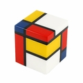 Pacific Connections Lacquered Mondrian Cotton Swab Box