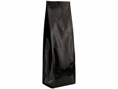 """16 oz. Heat-Seal Gusseted Bags 13""""X3.75""""X3"""" Glossy Black, 50 Bags"""