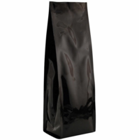 "16 oz. Heat-Seal Gusseted Bags 13""X3.75""X3"" Glossy Black, 50 Bags"