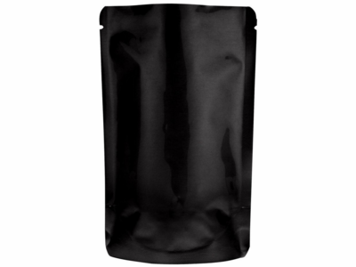 """2 oz. Heat-Seal Stand-Up Pouches 6""""X4""""X2 3/8"""" Glossy Black, 100 Pouches"""