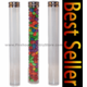 """6"""" Clear Plastic Round Tubes with Silver Metal Screw Cap, Bundle of 12"""
