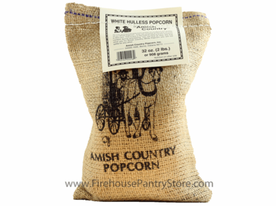Amish Country Popcorn, White, 2 Pounds in a Burlap Bag