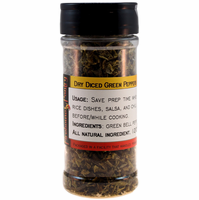 "Green Bell Peppers, Dried, 3/8"" Diced, in a Large Spice Jar (1.94 oz.)"