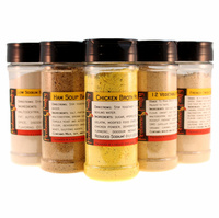 Instant Broth Mix Sampler - 5 Varieties - Large Spice Jars of Each