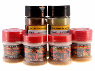 Searing Six Chili Pepper Powder Sampler + FIREHOUSE FREEBIE