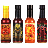 Super Hot Gourmet Hot Sauce Sampler Pack (4 Varieties) + FIREHOUSE FREEBIE