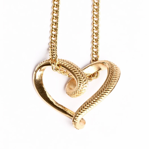 HOF Jewelry Golden Baseball Stitched Infinity Heart Pendant Necklace