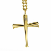 HOF Jewelry Golden Stacked Bat Cross Pendant Necklace