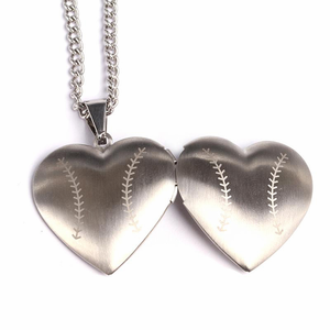 HOF Jewelry Stainless Baseball Heart Locket Necklace