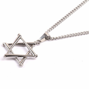 HOF Jewelry Stainless Star of David Stacked Bat Pendant Necklace