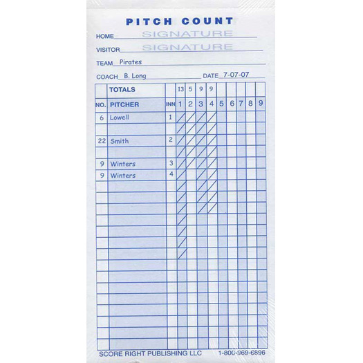 score right pitch count pad pc sr
