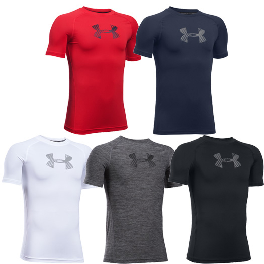 Under armour heatgear armour fitted boys 39 short sleeve for Under armour fitted t shirt
