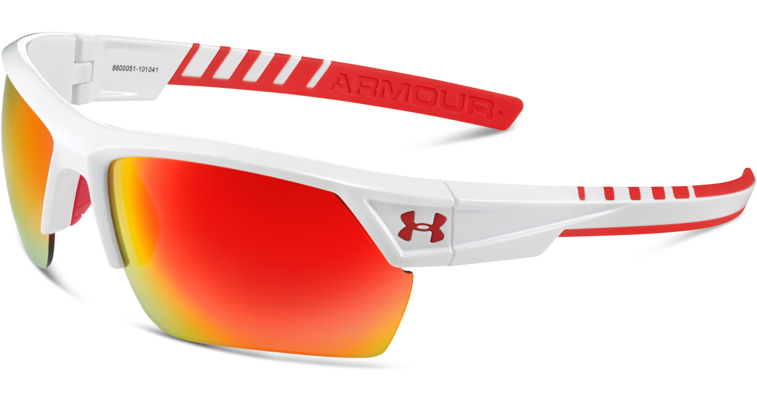 9450ce69dde Under Armour Igniter 2.0 Shiny White Frame w  Red Mirror Lenses Sunglasses  8600051-101041