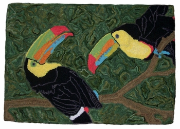 Toucans (Small) by Melissa Eisenbach - Pattern only or Complete Rug Hooking Kit