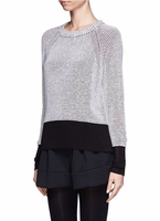 Gray Colourblock Knit Sweater