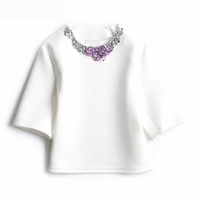 White Boxy Shirt with Crystal Neckline Angora (On Sale)