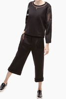 ADOLFO DOMINGUEZ Neoprene Culottes With Mesh Details (Two Pieces)
