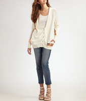 White Cotton Foil Cardigan