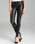 Alice Olivia Black Leggings Leather Front Zip - 3.22