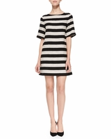 Black Mandy Striped Shimmery Shift Dress