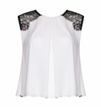 Alice Olivia Loretta Lace Combo Top White - 5.1