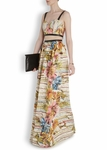 Alice + Olivia Multicolor Dian Leather-trim Cutout Maxi Dress - 4.14