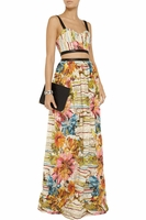 Alice + Olivia Multicolor Dian Leather-trim Cutout Maxi Dress
