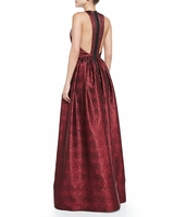 Red Emilia Snakeembossed Metallic Gown