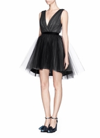 ALICE + OLIVIA TULLE OVERLAY ORGANZA DRESS