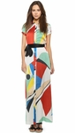 Arlen Tie Belt Maxi Dress Colorblock Graphic - 3.28