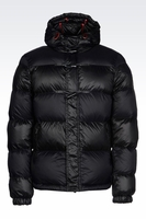 ARMANI JEANS HOODED DOWN JACKET IN TECHNICAL FABRIC