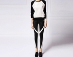 Asymmetrical Stripe Leather Trousers