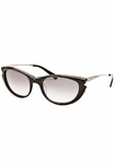 Balmain Oval Striped Sunglasses in Gold and Black