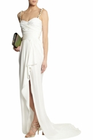 BALMAIN Ruched silk-satin gown