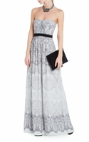BCBGMAXAZRIA Gray Strapless Maxi Dress