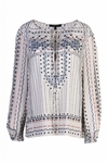 BCBG EVANNA PRINTED PEASANT BLOUSE IN GARDENIA COMBO - 7.13