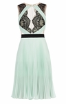 BCBG Green Arianne Scalloped-Edge Pleated Dress - 6.7