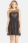 BCBGMAXAZRIA Black Cadee Lace Skater Dress - 9.20