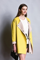 Bicolor Wool Cocoon Coat