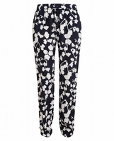 Black Benett Orchid Printed Silk Trousers