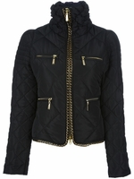 Black Chain Insert Quilted Jacket (On Sale)