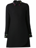 Black Crepe Dress with Feather Collar Cuff